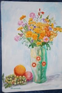 Натюрморт с летними цветами и фруктами, акварель, бумага, А2, 2014 г.
