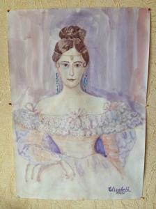 Портрет Н. Гончаровой, акварель, бумага, А4, 2014 г.