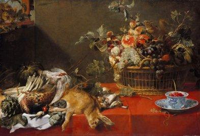 Натюрморт с охотничьими трофеями корзиной фруктов и овощами