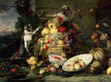 Обезьяны крадущие фрукты Лувр